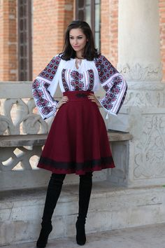 Iiana - inspired by romanian traditional costume Folk Fashion, Ethnic Fashion, Womens Fashion, Traditional Fashion, Traditional Dresses, Boho Gypsy, Bohemian Style, Folk Clothing, Cool Outfits