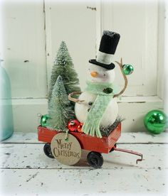 Christmas Decoration // Snowman // Vintage Style Christmas // Folk Art Christmas // Bottle Brush Tree // Vintage Tin Toy // Mercury Glass