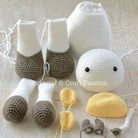 Get free cow amigurumi pattern, MooMoo Cow, crochet from a medium weight acrylic yarn in white, yellow & brown. The black patches are sewn on felt. - Page 2 of 2