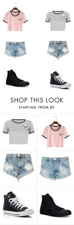 """""""two friends"""" by alyssaapaige on Polyvore featuring WithChic, One Teaspoon and Converse"""
