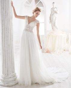 nicole spose 2018 bridal cap sleeves v neck heavily embellished bodice romantic soft a line wedding dress open v back chapel train mv -- Nicole 2018 Bridal Collection Tulle Ball Gown, Ball Dresses, Bridal Dresses, Ball Gowns, Wedding Suits, Wedding Attire, Wedding Gowns, Perfect Wedding Dress, Cheap Wedding Dress