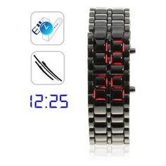 Ice Samurai - Japanese Inspired Red LED Watch for Men (Black)