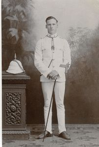 7th Hussars, Bangalore, India. Trooper with spiked Helmet & white uniform