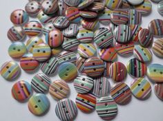 50 x 2-Hole Printed Wooden Buttons - 15mm - Round - Mixed Stripes