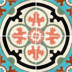 8x8 Barcelona 4 Terra Nova Hand Painted Floor Tile