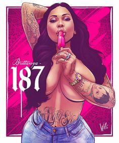 Body Art Tattoos, Girl Tattoos, Black Girl Cartoon, Lowrider Art, Gangster Girl, Graffiti Drawing, Chicano Art, Attractive Girls, Digital Art Girl