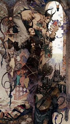 """The Incredible Illustrations of Flame.Take a look at the astounding illustrations by Japanese artist """"Flame."""" These works honorably show their respect to early Century illustrator Harry Clarke. Art Inspo, Kunst Inspo, Art And Illustration, Art Illustrations, Arte Complexa, Arte Indie, Arte Obscura, Art Japonais, Art Anime"""