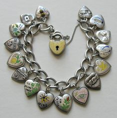 Rebus puffy hearts bracelet from Red Robin Antiques