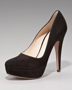 Prada Suede Platform Pump (worn with McQueen Gown at Night of Heros) Crazy Shoes, On Shoes, Me Too Shoes, Suede Platform Pumps, Designer Sandals, Neiman Marcus, Prada, Christian Louboutin, Peep Toe