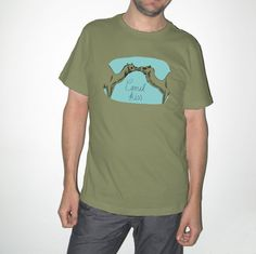 Men Khaki Handprinted Tshirt Camel kiss. Printed with by TacaMaca, $20.50