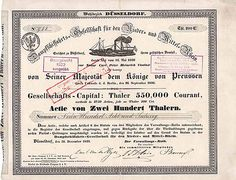 Dampfschiffahrts-Gesellschaft fuer den Nieder- und Mittel-Rhein Duesseldorf Actie 200 Thaler 1839