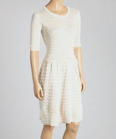 Cream Zigzag Seam Scoop Neck Dress by Gabby Skye #zulily #zulilyfinds