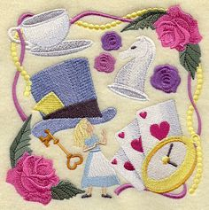 Alice In Wonderland Collage  Embroidered by ByHollyInspirations