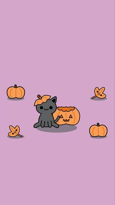 Halloween Wallpaper Cute, Cute Fall Wallpaper, Holiday Wallpaper, Halloween Backgrounds, Cute Wallpaper Backgrounds, Wallpaper Ideas, Phone Wallpapers, Iphone Background Wallpaper, Cat Wallpaper