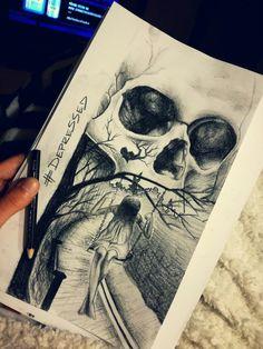 #girl #skull #depressed