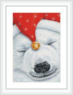 Polar Bear Cross Stitch Pattern Large Cross Stitch by GCStitchDIY