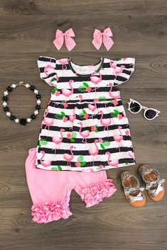 Fancy Pink Flamingo Ruffle Short Set