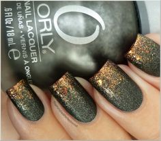 Charcoal grey metal base with gold glitter edge gradient nails manicure