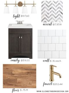 Elizabeth Burns Design | Cheap Modern Bathroom Design, Gold Light Fixture, Champagne Bronze, Marble Chevron Tile, Wood Tile Floors
