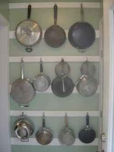 Downsizing? Not a lot of storage space in the kitchen? Here's a great way to hang / store / organize pots and pans.