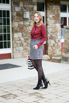 Holiday outfit to copy by Emillion Thoughts // red ruffle shirt, plaid button down, holiday plaid top, J Crew Factory style, J Crew holiday style, holiday fashion, J Crew holiday outfit, presents, Sugar Paper wrapping paper and bags, Christmas plaid, stylish and comfortable holiday outfit, what to wear to a Christmas party, how to style a J Crew sidewalk skirt