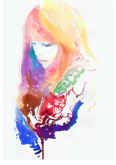 "Fashion Illustration, Print of Watercolor Fashion Illustration 18"" x 13""  Titled: Blondeink. $50.00, via Etsy."