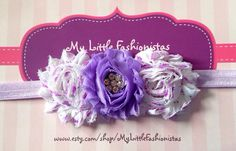 A beautiful purple shabby headband by MyLittleFashionistas on Etsy
