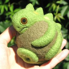 Chameleon nature inspired needle felted wool ball by roommate - love it