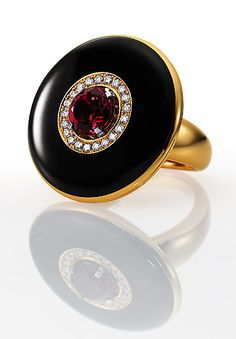 VICTOR MAYER pink tourmaline diamond and onyx ring.