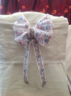 English country style pew ends/chair backs, made from vintage new old stock ribbon & embellishments, more can be viewed at eBay Muscari.whites-florist and etsy muscariwhitesflorist   #muscarwhites www.muscariwhites.co.uk