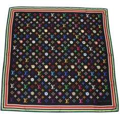 Pre-owned Louis Vuitton Eye Love Monogram Black Multicolore Silk Scarf (515 CAD) ❤ liked on Polyvore featuring accessories, scarves, black, monogram shawl, colorful shawl, louis vuitton scarves, louis vuitton shawl and silk scarves