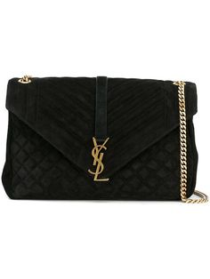 Saint Laurent Large College Monogram Quilted Suede Shoulder Bag In Black My Bags, Purses And Bags, Sacs Design, Saint Laurent Bag, S Monogram, Small Leather Goods, Luxury Bags, Mode Inspiration, Respiration