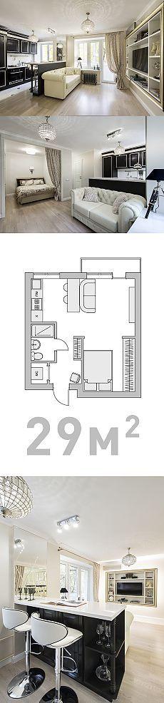 Двухкомнатная квартира из 29-метровой однушки! Понятно, что реальность, понятно что дорого, но посмотрите на смелую простоту решения и поразительный результат. Хотя может меня просто настенные светильники зацепили.