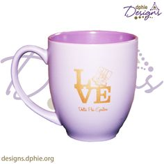Delta Phi Epsilon Love Lilac coffee mug! Super cute and available at DPhiE Designs!!