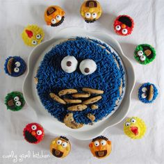 Cookie Monster Cake and Sesame Street Cupcakes