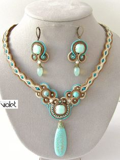 Soutache Ohrringe und Kette/earrings and necklace