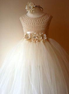 Marfil niña vestido de flores, marfil del vestido del tutú, vestido de dama de honor, vestido de la princesa, Ivory Crochet Top
