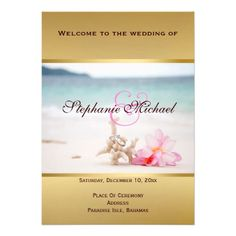 Wedding Program Card - Wedding Rings On The Beach #Customizable #beachwedding #beachweddinginv