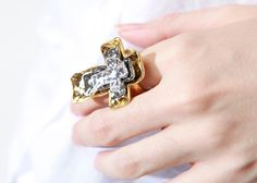 Layered Cross Ring in Gold // Storets.com // #STORETS #jewelry #accessories