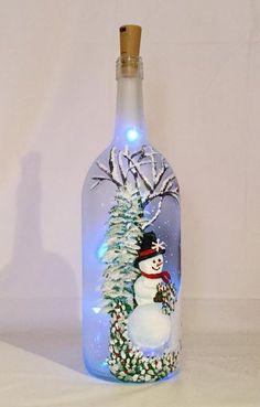 Snowman Wine Bottle - Christmas illuminated bottle of snowman painted wine bottle Wine Bottle Art, Painted Wine Bottles, Lighted Wine Bottles, Large Bottle Of Wine, Bottle Bottle, Vintage Bottles, Vintage Perfume, Wine Bottle Centerpieces, Christmas Wine Bottles