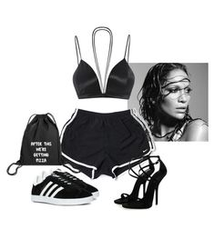 """Untitled #1627"" by elinaxblack ❤ liked on Polyvore featuring NIKE and adidas"