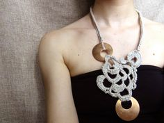Crochet necklace bronze jewelry free form crochet by WearitCrochet