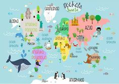 Animal World Map Print, Kids World Map Poster, Nursery World Map, Large World Map Nursery Art, Kids - Blätterteig Schnecken Map Nursery, Nursery World, Animal Nursery, Nursery Themes, Nursery Decor, Kids World Map, Maps For Kids, Mothers Day Crafts For Kids, World Map Poster
