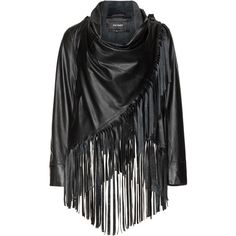 Patago Black Plus Size Fringed leather jacket ($585) ❤ liked on Polyvore…