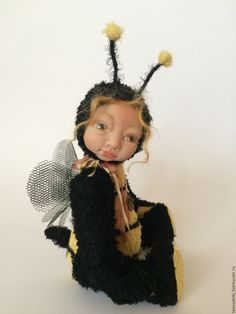 """Купить Теддидолл """"Пчелка"""" - комбинированный, авторская кукла, авторская игрушка, авторская ручная работа"""