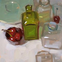 "Daily Paintworks - ""Cherries Contained"" - Original Fine Art for Sale - © Carol Marine"