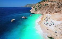 Kaputas Beach in Kalkan, Turkey. The color is as vibrant as the picture!