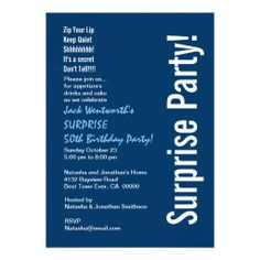 SURPRISE 50th Birthday Modern Navy Blue White Custom Invite #birthday #birthdayinvitations #birthdayinvites #birthdayparty #birthdaypartyinvitations #birthdaypartyinvites