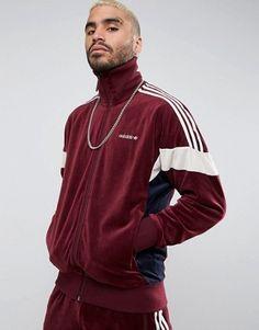 new concept a12ba 08389 Shop adidas Originals Velour Track Jacket In Red at ASOS.