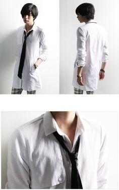 モード系/メンズファッション/ビジュアル系 minsobi/ミンソビ。【あす楽】【rearriva】ロングシャツ メンズ ロング丈 [ ロングシャツコート メンズ 白、シャツジャケット メンズ、ロング丈 シャツ メンズ、ロングコート、スプリング ロングコート、コットンコート メンズ、白 シャツ ロング メンズ